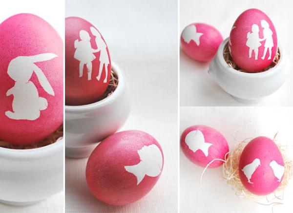 Eier färben mit Silhouetten -